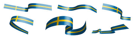 Set of holiday ribbons. Sweden flag waving in wind. Separation into lower and upper layers. Design element. Vector on white background
