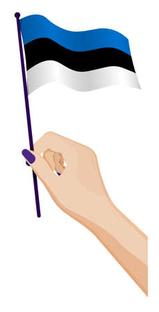 Female hand gently holds small Estonian flag. Holiday design element. Cartoon vector on white background Illusztráció