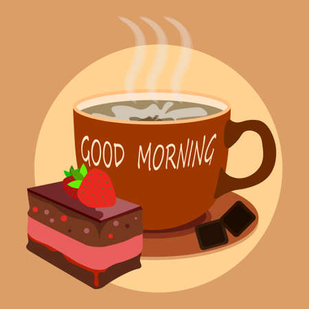 large mug of hot cocoa with strawberry brownie on plate. Delicious desserts for winter evening. New Year holidays at home table. Vector
