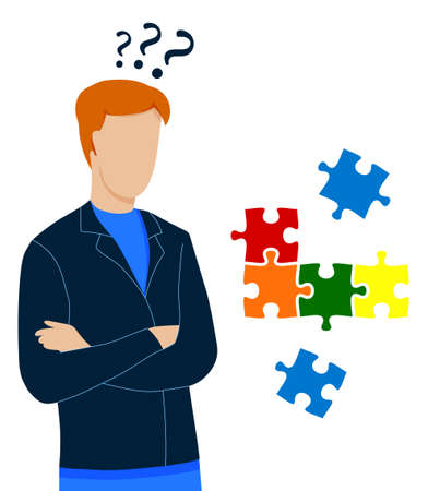 man stands in thought. Making difficult decisions, answering questions. Puzzle pieces fly overhead. Vector on white background Векторная Иллюстрация