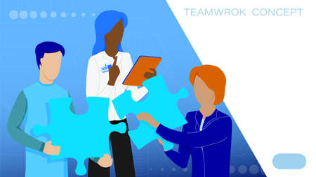 Teamwork. Two people under leadership of boss solve puzzle, put jigsaw pieces together. Solving common problem by joint efforts. Work of people in team for common result. Vector Иллюстрация