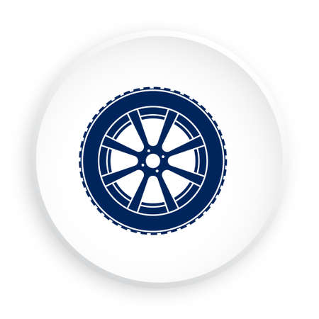 wheel with tire and winter rubber tread in neomorphism style on white background. Winter tires for car. Driving on slippery road. Driving safety. Vector Vettoriali