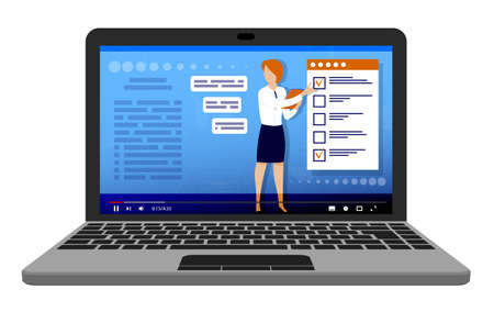 Online education, learning. Teacher conducts lesson online from laptop. Explains teaching material. Student takes exam using checklist from smartphone or laptop. Vector Ilustração