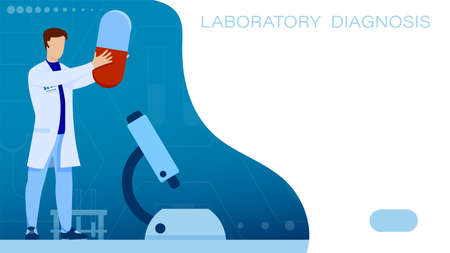 Medical scientist, doctor holds pill in his hands. Laboratory studies of analyzes and prescription of drugs. Vector 向量圖像