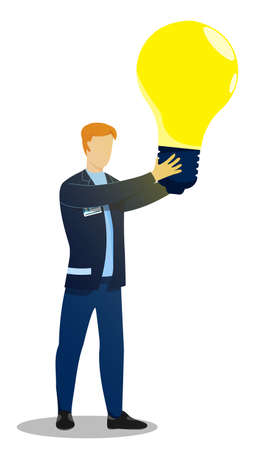 man, creative worker holding large glowing light bulb in his hands. New idea, creative thought. Business brainstorming to solve problem. Vector isolated on white background Ilustracja