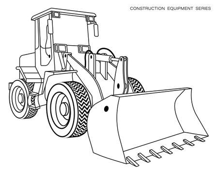 Children linear drawing for coloring book. Construction equipment loader, bulldozer in linear. Industrial machinery and equipment. Isolated vector on white