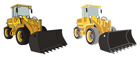 Construction equipment loader, bulldozer. Industrial machinery and equipment. Isolated vector on white