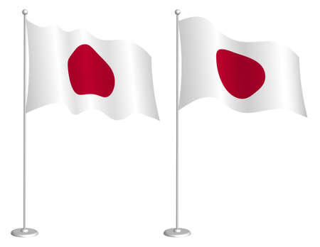 Flag of Japan on flagpole waving in the wind. Holiday design element. Checkpoint for map symbols. Isolated vector on white background