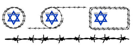 Holocaust Remembrance Day 27 January. Star of David in barbed wire frame. Element for brush. Prisoners and Victims of Holocaust of World War II 1939-1945