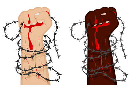 hand clenched into fist in barbed wire loops. Combating injustice and discrimination. Illegally convicted prisoners of prisons and concentration camps. Carton vector