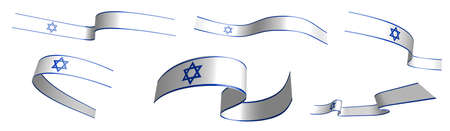 Set of holiday ribbons. Israel flag waving in wind. Separation into lower and upper layers. Design element. Vector on white background