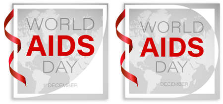 World AIDS Day 1 December. White frame and red ribbon on background of continents of planet. HIV square poster. Vector
