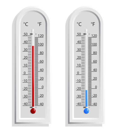 Realistic weather thermometer with high and low temperature. Outdoor temperature measurement. Isolated vector on white background