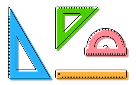 Ruler, protractor, triangle icons. School measuring instruments. School teaching, drawing, geometry. Vector