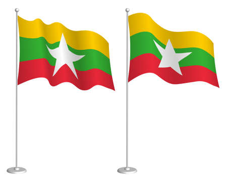 flag of republic of myanmar on flagpole waving in wind. Holiday design element. Checkpoint for map symbols. Isolated vector on white background