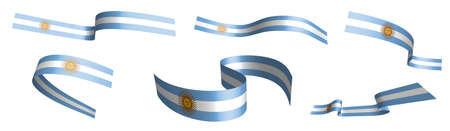 Set of holiday ribbons. Argentina flag waving in wind. Separation into lower and upper layers. Design element. Vector on white background