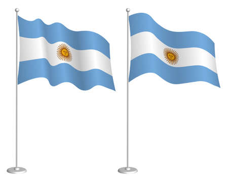 Argentina flag on flagpole waving in wind. Holiday design element. Checkpoint for map symbols. Isolated vector on white background