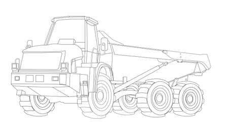Construction bulldozer. Children linear drawing for coloring. Vector on white 写真素材