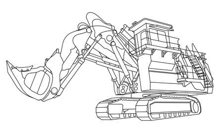 Construction bulldozer. Children linear drawing for coloring. Vector on white