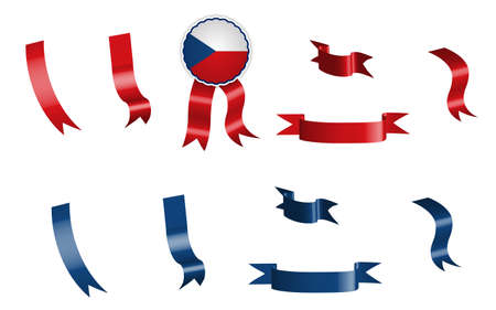 label, set of red and blue ribbons with tag, in colors of Czech Republic flag. Isolated vector on white background