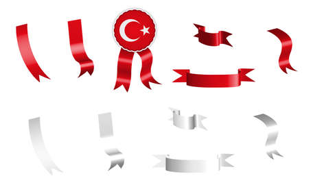 label, set of white and red ribbons with tag, in colors flag of Republic of Turkey. Isolated vector on white background