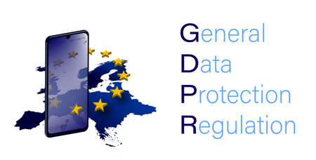 concept of the protection of personal data in the European Union, GDPR. Internet security. Smartphone with elements of symbols of the European Union. banner, template