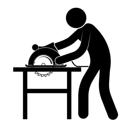 stick figure, man works in a carpentry workshop with a circular saw. Manufacture of wood products. Isolated vector on white background