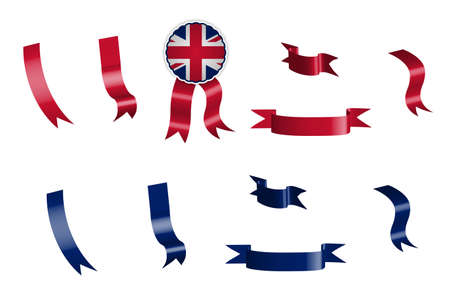 label, set of red and blue ribbons with tag, in colors of the flag of great britain. Isolated vector on white background