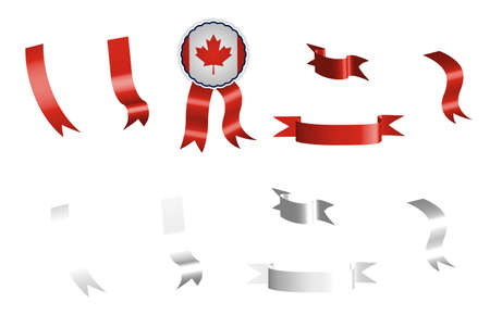 label, set of red and white ribbons with tag, in colors of the flag of Canada. Isolated vector on white background