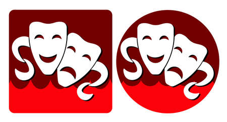 white comedy and tragic theatrical masks on a red background Foto de archivo