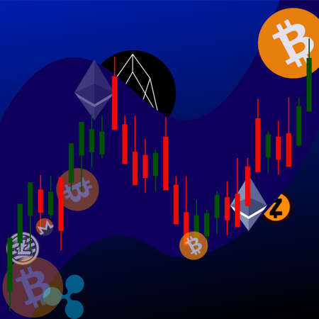 top 10 cryptocurrency on the wave of growth in a flat style, the graph of candles Stock Photo
