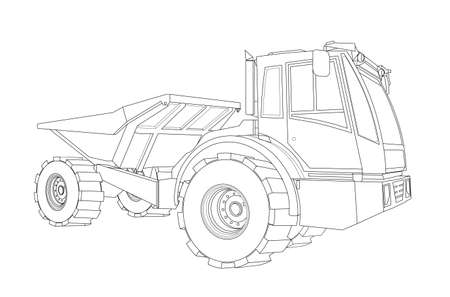 truck, heavy construction equipment. Children linear drawing for coloring. Vector on white isolated on white background