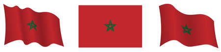 morocco flag in static position and in motion, fluttering in wind in exact colors and sizes, on white background