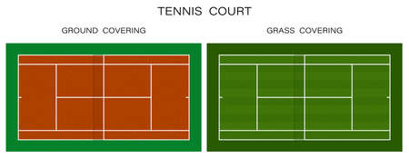 tennis court top view. Grass and ground covering. Outdoor tennis court. Sports ground for active recreation. Vector