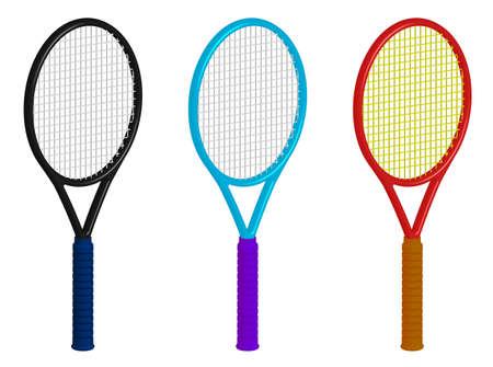 tennis racket 3d rendering. Sport equipment, inventory. Color editing via menu color balance correction. Vector