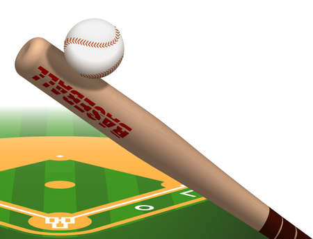 sports wooden baseball bat hits flying ball. American national sport. Active lifestyle. Realistic vector background