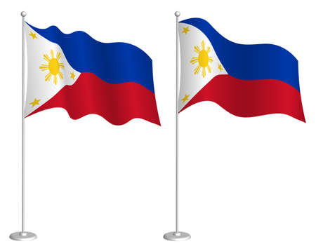 Flag of Republic of Philippines on flagpole waving in wind. Holiday design element. Checkpoint for map symbols. Isolated vector on white background