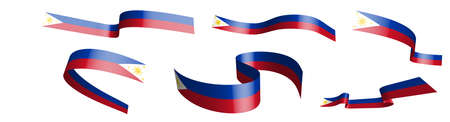 Set of holiday ribbons. Flag of Republic of Philippines waving in wind. Separation into lower and upper layers. Design element. Vector on white background