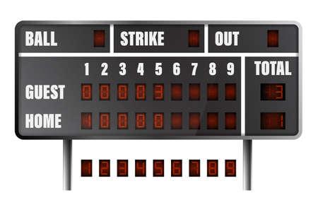 realistic baseball scoreboard. Score on board during match on field. Team sports. Active lifestyle. American national sport. Vector Vektorgrafik