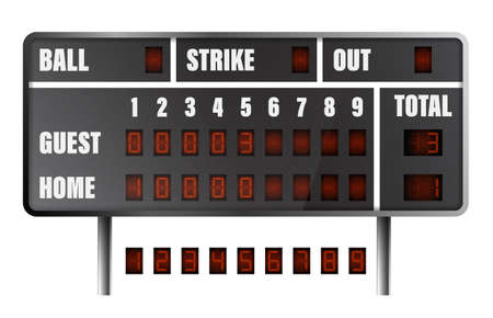 realistic baseball scoreboard. Score on board during match on field. Team sports. Active lifestyle. American national sport. Vector
