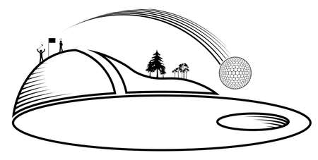 Stick figures, group of golfers are playing on field. Sports golf ball flies into hole after precision hit. Healthy lifestyle. Vector