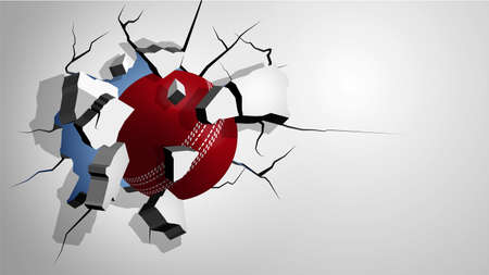 red cricket ball punched through the wall and breaks into shards, cracks on wall. Inflicting heavy damage. Vector Ilustração
