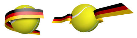 sports tennis ball in ribbons with colors German flag. Rating of athletes in tennis. Isolated vector on white background