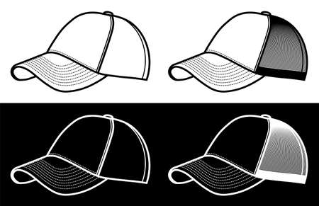 blank baseball cap icon in simple linear style. Athlete, golfer, baseball clothing. Vector