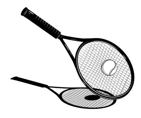 tennis racket bounces sports tennis ball after strong, accurate serve from an opponent. Sport competitions. Contrast black and white vector