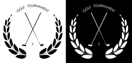 symbol, emblem of golf club with laurel wreath for competition. Golfer sports equipment. Active lifestyle. Vector