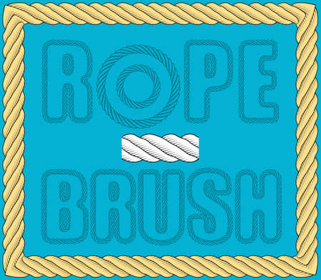 nautical twisted rope brush. Rope for fastening on ships. Element for design and decoration. Vector Vektorgrafik