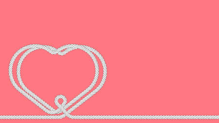 two hearts connected, woven together by one line from rope on pink background. Strong relationships. Background for Valentines Day on February 14th. Vector