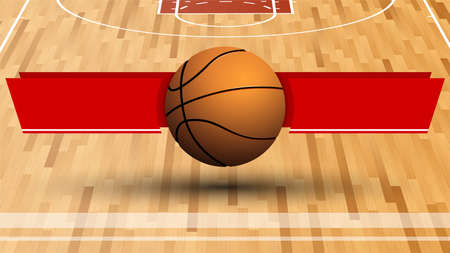 template for tournament with basketball ball on background of sports field with ribbons for announcement of names of teams. Vector Vektoros illusztráció
