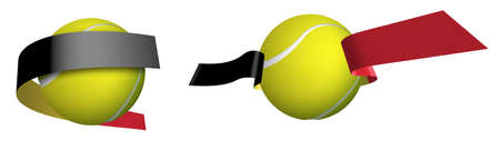 sports tennis ball in ribbons with colors of Flag of Belgium. Isolated vector on white background